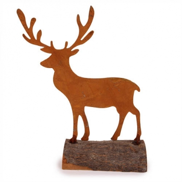 Metall Hirsch auf Baumstamm, naturgerostet, 18,5 cm