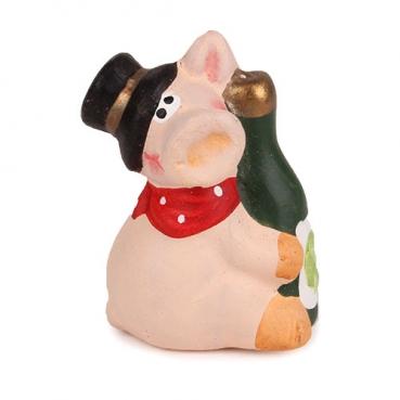Gastgeschenk Silvester Glücksschwein mit Sektflasche, 60 mm