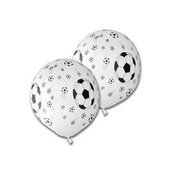 5er Pack Luftballons Fußbälle in Weiß, 30 cm