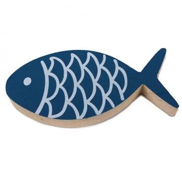 Großer Holz Fisch in Blau/Weiß, 13 cm