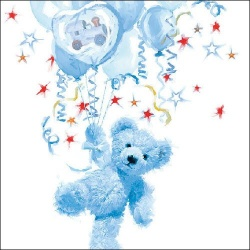 20er Pack Servietten Taufe, Teddy in Hellblau, 33 x 33 cm