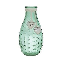 Glas Flaschen Väschen genoppt mit Herzanhänger, in Grün, 14 cm