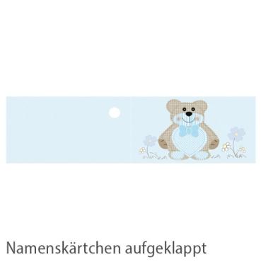 20 Namenskärtchen Taufe, Teddybär in Hellblau, 45 mm Bild 2