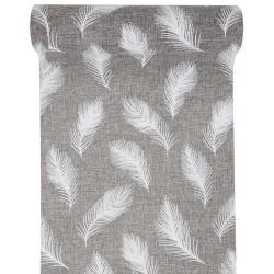 3 Meter Leinen-Optik Tischläufer Federn in Grau-Weiß, 28 cm