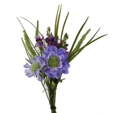 Kunstblume Frühlingssträußchen in Lila/Grün, 32 cm