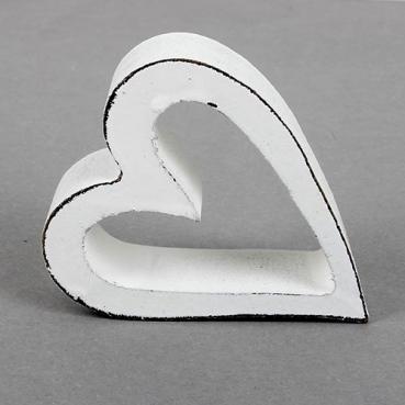 Holz Herz Shabby offen in Weiß, 75 mm