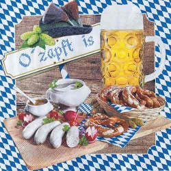 20er Pack Servietten Oktoberfest -O zapft is- 33 x 33 c m
