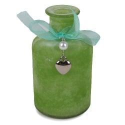 Flaschen Väschen Rustic mit Schleife, Herzanhänger, in Hellgrün, 12 cm
