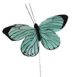 Feder Schmetterling am Draht in Mint, 10 cm
