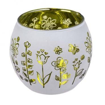 Teelichtglas rund Blumenwiese verspiegelt in Hellgrün, 70 mm