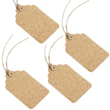 4 Tischkarten, Geschenkanhänger aus Kork, 90 mm