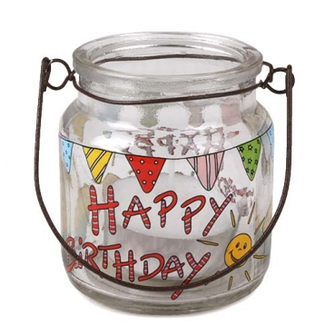Windlicht mit Henkel -Happy Birthday- inkl. Teelicht, 65 mm