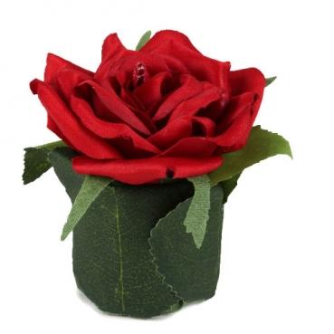Kunstblume Rosenkopf im Blättertöpfchen in Rot, 80 mm