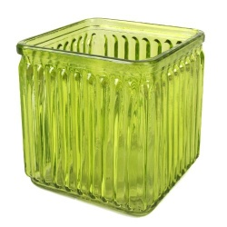 Vierkant Kerzenglas, geriffelt in Grün, 10 cm