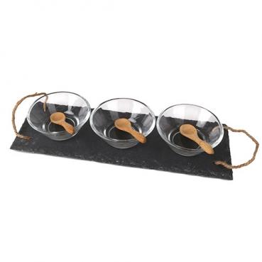 7 tlg. Vorspeisen Set, Schieferplatte mit Griff, Schalen und Löffeln, 30 cm