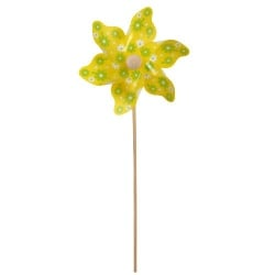 Windrad Pick, Blumen in Gelb, 28 cm