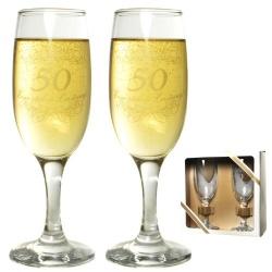 2 Sektgläser 50 Jahre -Eine stolze Leistung-, 19 cm