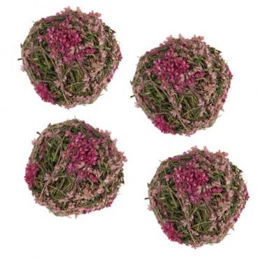 4 kleine Deko Kugeln aus Naturmaterial in Rosa-Pink, 50 mm