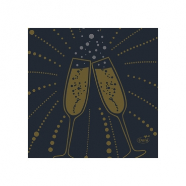 Duni Dunisoft Cocktail-Servietten Festive Cheers Black, 20 x 20 cm