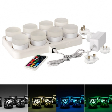 8er Set Duni LED Mini Lamp multicolour, 10.000 Std., Fernbedienung, Ladestation