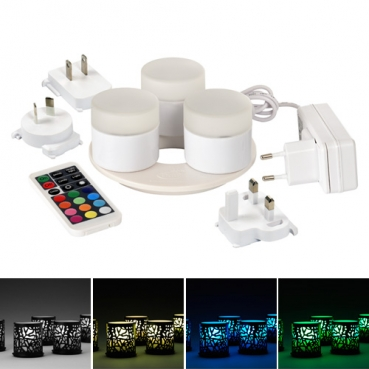3er Set Duni LED Mini Lamp multicolour, 10.000 Std., Fernbedienung, Ladestation
