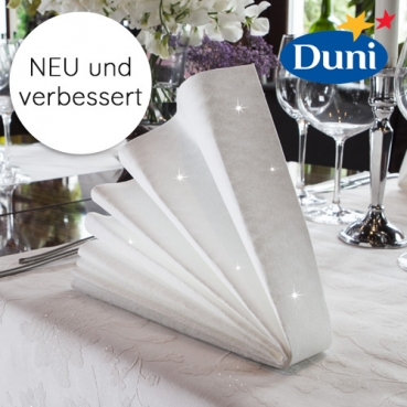 Duni Dunilin Servietten Brilliance mit Glanzeffekt in Weiß, 40 x 40 cm