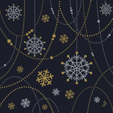 Duni Dunisoft Servietten Snowflake Necklace Black, 40 x 40 cm