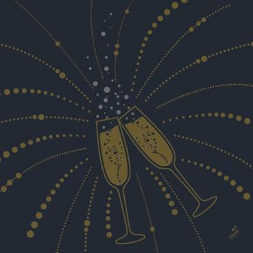 Duni Dunisoft Servietten Festive Cheers Black, 40 x 40 cm
