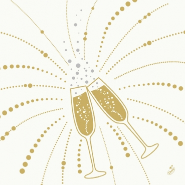 Duni Dunisoft Servietten Festive Cheers White, 40 x 40 cm
