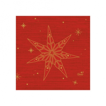 Duni Zelltuch Cocktail-Servietten Star Stories Red, 24 x 24 cm