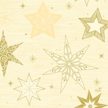 Duni Zelltuch Servietten Star Stories Cream, 33 x 33 cm