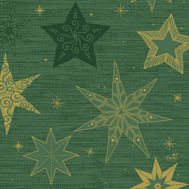 Duni Zelltuch Servietten Star Stories Green, 33 x 33 cm