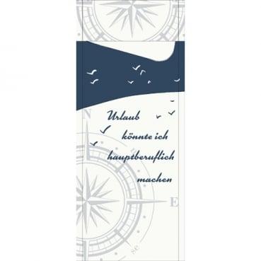 Duni Bestecktasche Sacchetto Küste & Meer mit Serviette in Weiß, 8,5 x 19 cm