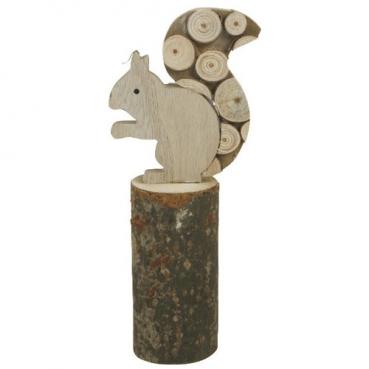 Deko Holz Eichhörnchen auf Baumstumpf, 27 cm