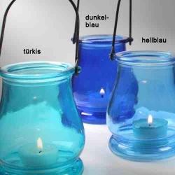 Glas windlicht in 3 blaut nen zur gartendeko hellblau - Glas gartendeko ...