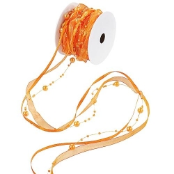 10 Meter Trendy Perlen Tischband in Orange