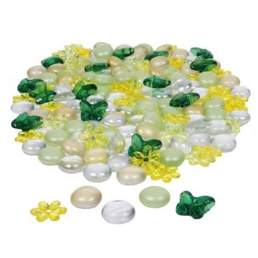 Glaslinsen mit Acryl Blüten und Schmetterlingen in Gelb/Grün