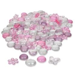 Glaslinsen, Acrylblüten und Schmetterlinge in Rosa/Klar