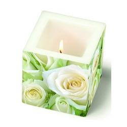 Eckige Kerze White Roses, 80 mm