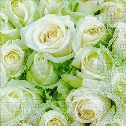 20er Pack Servietten White Roses, 33 x 33 cm