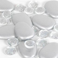 Glassteine und Glaslinsen Mix in Silber/Klar