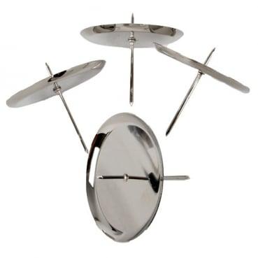 4 Adventskranz Kerzenhalter mit Dorn in Silber glänzend, 75 mm