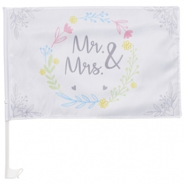 Autofahne, Autoflagge Hochzeit, Mr. & Mrs., 44 cm