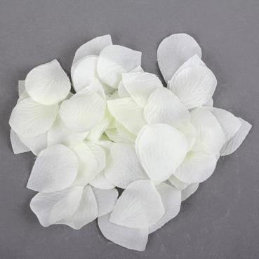 60 Textil Blütenblätter in Creme, 47 mm