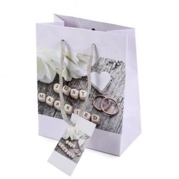 Tasche, Hochzeit -Just Married-, für Gastgeschenke, 13,5 cm