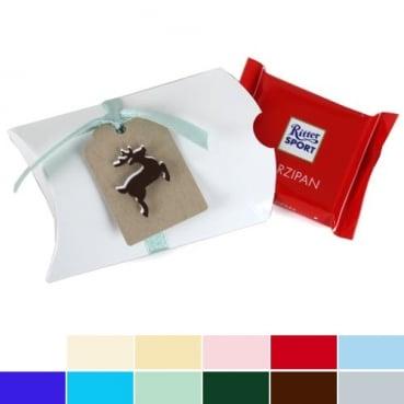 Gastgeschenk Bonboniere Weihnachten, Hirschmotiv mit Schokolade in 12 Farben