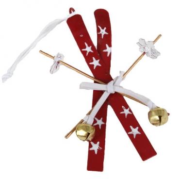Christbaumschmuck, Geschenkanhänger, Ski in Rot/Weiß, 60 mm