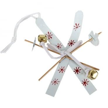 Christbaumschmuck, Geschenkanhänger, Ski in Weiß/Rot, 60 mm