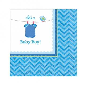 20er Pack Cocktail Servietten Baby Shower Party, Baby Boy, 24 x 24 cm