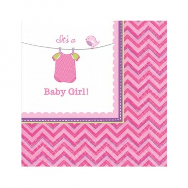 20er Pack Cocktail Servietten Baby Shower Party, Baby Girl, 24 x 24 cm
